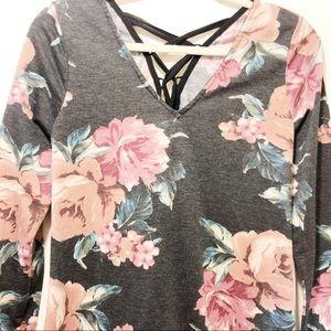 Gray Rose Floral A Line Dress Size M
